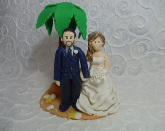 personalized bride and groom beach Wedding Cake Topper
