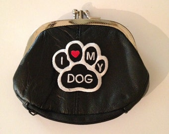 I Love My Dog Design Black Leather Change Purse