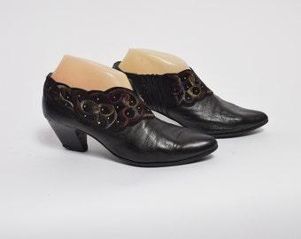 Vintage 80s Black Ankle Heels Embelished