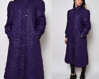 Vintage 80's Purple Puffer Quilted Long Winter Coat