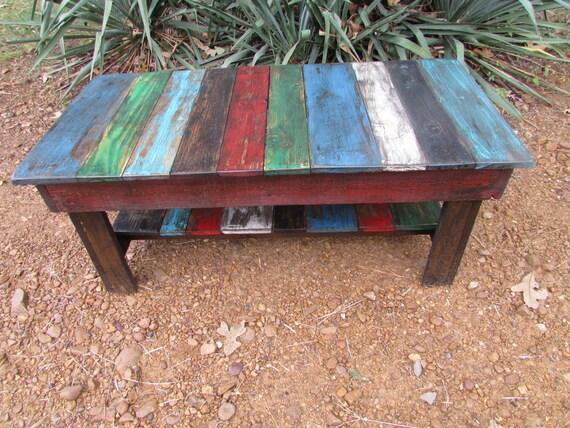 Rustic Multi Colored Distressed Coffee Table,~, Reclaimed Wood, Recycled Hardwood, barn furniture, rustic furniture,