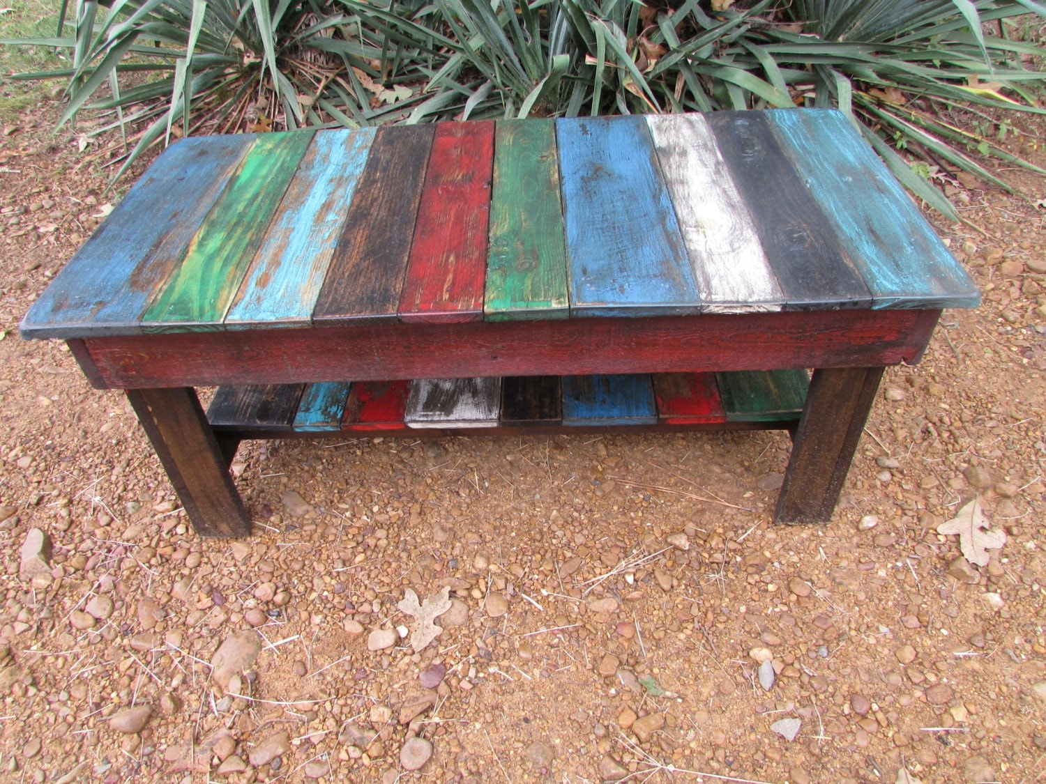 rustic multi colored distressed coffee table by serenevillage