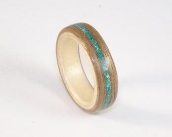 Bent Wood Ring Walnut & Sycamore with Turquoise Inlay Mens Wood Ring Womens Wood Ring Wood Engagement Ring Wood Wedding Band Wooden Ring