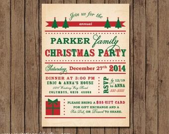 Vintage Retro Christmas Party Invitation - PRINTABLE - Family - Choose Digital or Printed w/ Envelopes