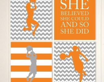 Basketball wall art, dorm poster, girls motivational art, girls room art, girls bedroom, sports art, Set of 4 prints