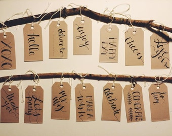 hand-lettered gift tags- 6 pack