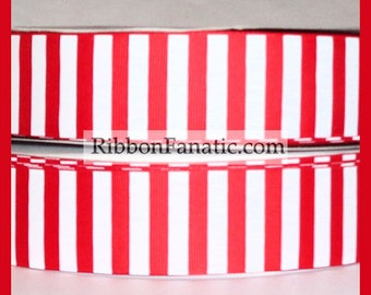 """5 yds 1.5"""" Red and White Candy Stripe Grosgrain Ribbon"""