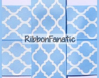 """5 yds 1.5""""  Light Blue  White Quatrefoil Moroccan  Lattice  Grosgrain Ribbon"""