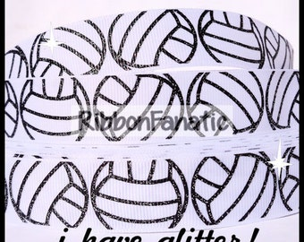 "5 yds 7/8"" GLITTER Volleyball in Black on White Grosgrain Ribbon"