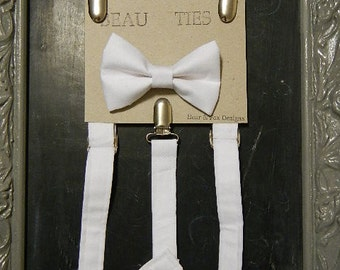 Boys Suspenders Bow Tie set White