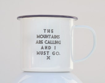 Engraved enamel coffee mug - The mountains are calling and I must go. Great gift for campers and coffee lovers!