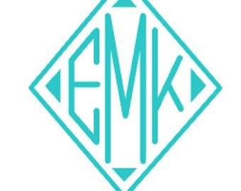 Diamond Vinyl Monogram Decal
