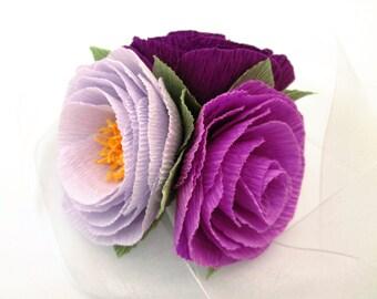 Paper Flower Corsage/ Wrist Corsage/ Wedding Corsage/ Bridal Shower/ Peper Flower Corsage/ Purple Corsage