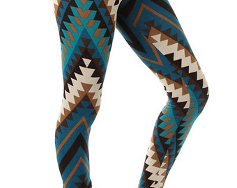 Blue Aztec Tribal Print Leggings