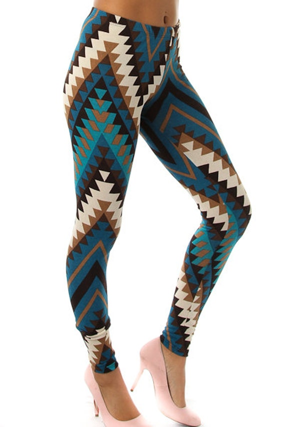 Blue Aztec Tribal Print Leggings