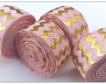 5/8 PEARL PINK Gold Chevron Fold Over Elastic
