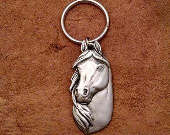 Pewter Horsehead Keychain, Horse Keychain