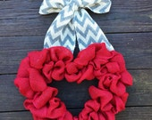 Valentines Wreath, Heart Wreath, Red Burlap