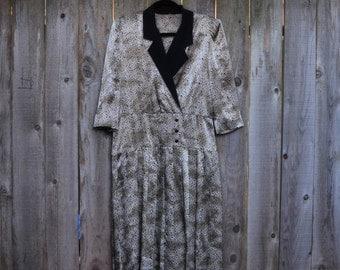 SALE! 1980s Vintage Leopard Print Pleated Drop Waist Dress