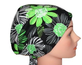 Scrub Hat Surgical Scrub Cap Chemo Vet Nurse Dr Hat European Pixie Style Lime Green Black White Floral  2nd Item Ships FREE