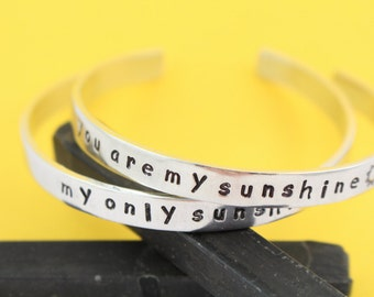 SALE - You Are My Sunshine My Only Sunshine Hand Stamped Cuff Bracelets - Mother's Bracelets - Handstamped Mother's Day Gift