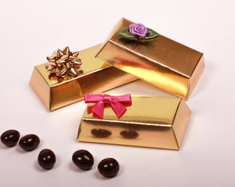 Custom Chocolate Espresso Bean Wedding Favors / Corporate Giveaway Gifts/ Shower Favors. Gold Bar.1 oz pkg . Chocolate Favors.