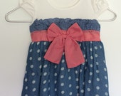 jean, girls dress, gingham, polka dot, red, white, blue, toddler dress