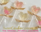Valentines Day Pink and Gold Lollipops, Pink and Gold Heart Lollipops, Valentine, Sparkle Lollipops, Sweet Caroline Confections-Set of Six