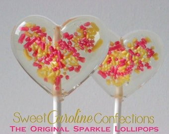 Pink and Yellow Heart Favors, Baby Shower Favors, Lollipops, Candy Lollipops, Its a Girl, Sweet Caroline Confections-Set of Six