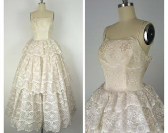 50s White Lace Princess Dress / Vintage 1950s Floor Length Wedding Dress / Small / Size 2