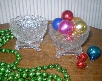 Pair of Vintage salt bowls or small glass bowls- pressed glass bowls- old clear glass bowl set- footed salt bowls
