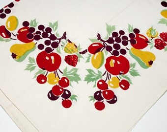 Vintage Tablecloth 50's, colorful fruit splashed around the border & center in vibrant color. 50's