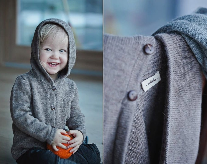 Hooded sweater baby alpaca brown gray knit hoodie wool jacket baby boy girl toddler kids hooded sweater wool cardigan wool knit hoodie