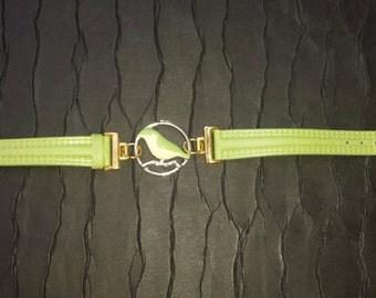 Upcycled green vintage watch strap bird charm bracelet