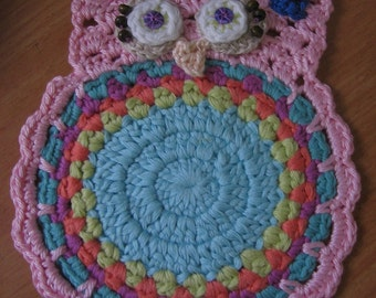 Crochet Owl Coaster. Gift under 15 USD. Free Shipping
