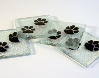 Black Paw Coasters - FREE UK DELIVERY - Fused Glass Animal Paw Print Coasters - Set of 4