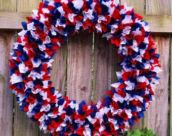 Large Patriotic Rag Wreath, Fourth of July Wreath, 4th of July Rag Wreath, Military Wreath, Flag Wreath