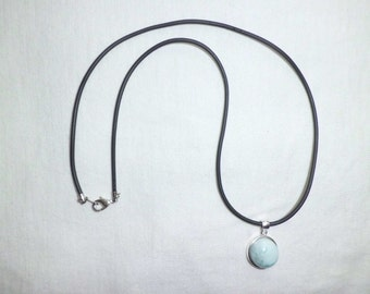 Genuine Larimar Sterling Silver Pendant Necklace 16 inches Round Cabochon Black Cord Removable  AAA Quality
