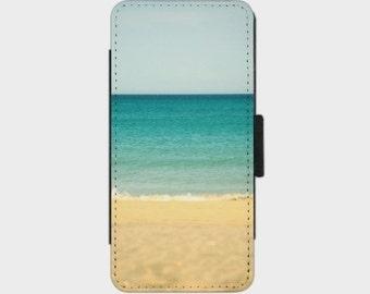 Beach,Sea & Sky Smartphone Flip Case for iPhone Samsung Sony LG Nexus HTC Photography Fine Art abstract blue green beige art turquoise