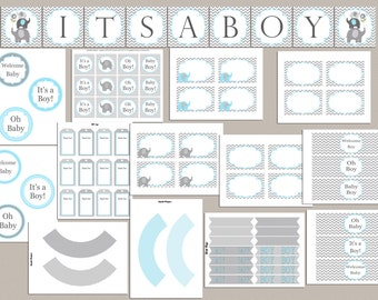 Boy Baby Shower Party Pack Baby Shower Party Package Printable Elephant Baby Shower Decorations Baby Shower Decor (49do)