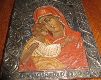 Gorgeous Silver Overlay Orthodox Icon Religious Painting