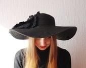 SALE OVERSIZED hat ~ Designer decorated hat ~ Wide brim hat ~ Romantic black hat ~ Big flower ~ Headpiece accessory ~ beach ~ summer