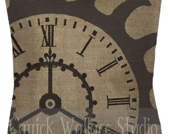 Steampunk Pillow 100% Burlap Steampunk Gear Clock Black Throw Pillow Cover Euro Sham