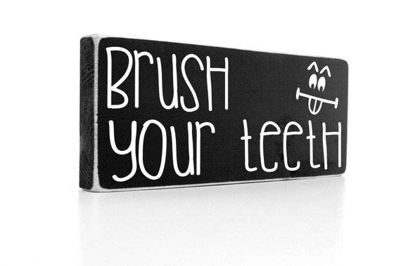 Kids bathroom decor brush your teeth wood sign by for 8x4 bathroom designs