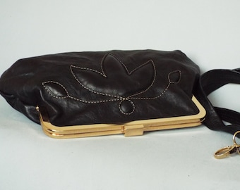 Leather evening frame clutch. Black evening purse. Leather frame purse. Black leather bag.