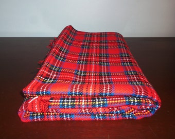 Vintage woven plaid fabric