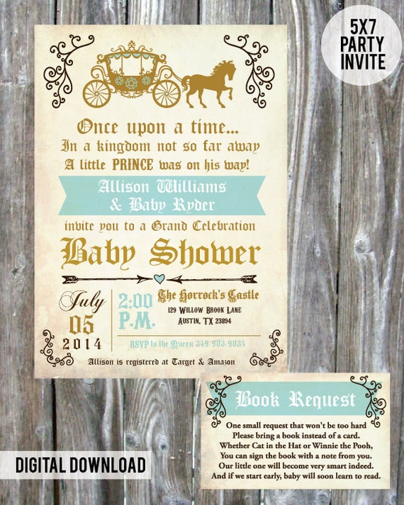 once upon a time prince baby shower invite digital download b