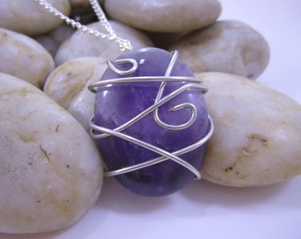 Wire Wrapped Stone Pendant - Amethyst