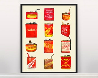 Vintage Gas Can Typology - Auto Poster - Car Art - Car Poster - Car Wall Art - Automobile Poster - Automobile Art - Car Lover - Mechanic