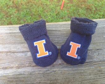 University of Illinois baby booties